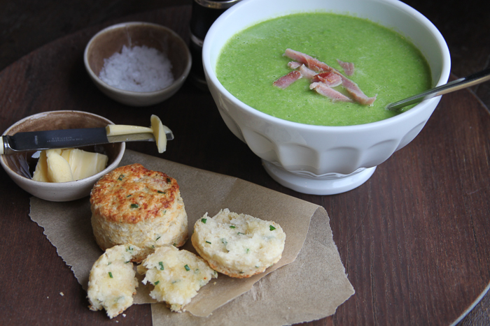 Pea Soup and Cheese Scones